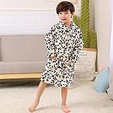 キッズパジャマ秋冬子供のパジャマソフトコーラルフランネルフード付きバスローブ男の子女の子パジャマホーム服 (Color : Clear, Kid Size : 5)