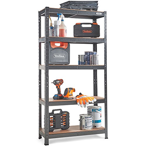 VonHaus 5 Tier Garage Shelving – Metal Racking, Steel & MDF Boltless Shelves - Massive 875kg Capacity 175KG per Shelf - 150cm H 75cm W 30cm D