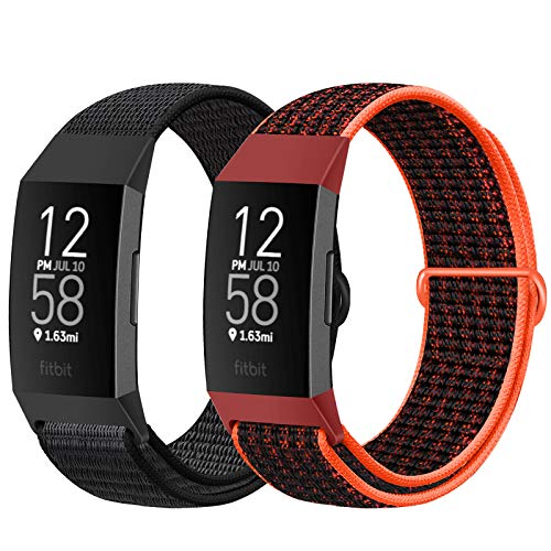 AVOD Nylon Watch Bands Compatible with Fitbit Charge 4/Charge 3/SE, Soft Replacement Wristband Breathable Sport Strap with Band for Women Men (Dark Black+Red Black)