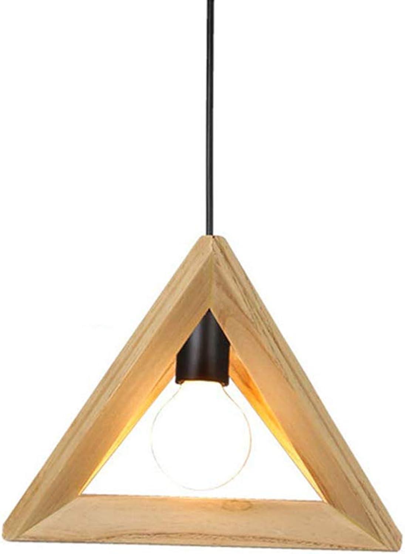 HHCC Pendelleuchte, geometrischer Kronleuchter Nordic moderner minimalistischer Massivholzrahmen Deckenleuchte, Deko Dreieck Hngelampe E27 Leuchte Kunstlampe für Schlafzimmer Cafe Bar,42cm