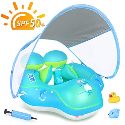 LAYCOL Baby Swimming Pool Float with Removable UPF 50+ UV Sun Protection Canopy,Toddler Inflatable Pool Float for Age of 3-36 Months,Swimming Trainer (Blue, XL)