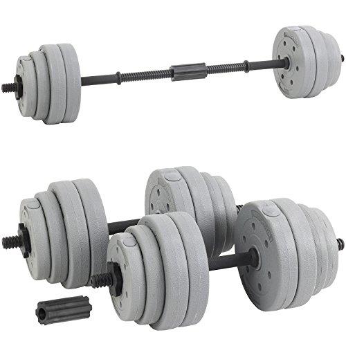 Hardcastle 30Kg Adjustable Dumbbell Barbell Weight Set Grey