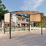 AECOJOY 11.8X9.1ft Outdoor Retractable Pergola Canopy, Outdoor Steel Pergola Gazebo with Retractable Canopy Shades Suitable for Garden,Beach,BBQ,Brown