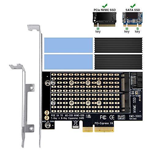 Dual M.2 PCIe-Adapter mit Kühlkörper, 6amLifestyle M2 NGFF-SSD und NVME-SSD zu PCI-e 3.0 x4-Hostcontroller-Erweiterungskartenunterstützung M.2 M Key SSD 2280 2260 2242 2230 mit Low Profile Bracket