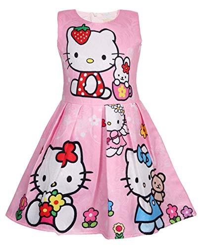 Girls Unicorn Dress Costumes Fancy Birthday Party Dress up (Kitty Pink, 6Y)