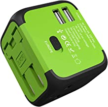 International Travel Adapter JMFONE 2 USB Universal Power Plug with Europe UK, EU, AU, US Plugs for 200 Countries for Laptop, Cell Phones (Does Not Convert Voltage) (Green)