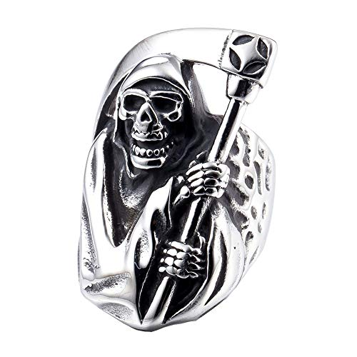 ZMY 2018 Mens Fashion Jewelry 316L Stainless Steel Rings for Men,Silver Grim Reaper Skull Ring for Dropshipping suppliers USA (10)