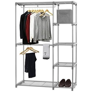 SimpleHouseware Freestanding Cloths Garment Organizer Closet, Silver