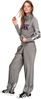 Victoria's Secret Pink Bling Campus Quarter Half Zip Tunic Sweater Gray Sequins Silver Floral Logo Medium