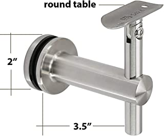 Shemonico Glass Mounted Staircase Adjustable Saddle Hand Rail Bracket for 2