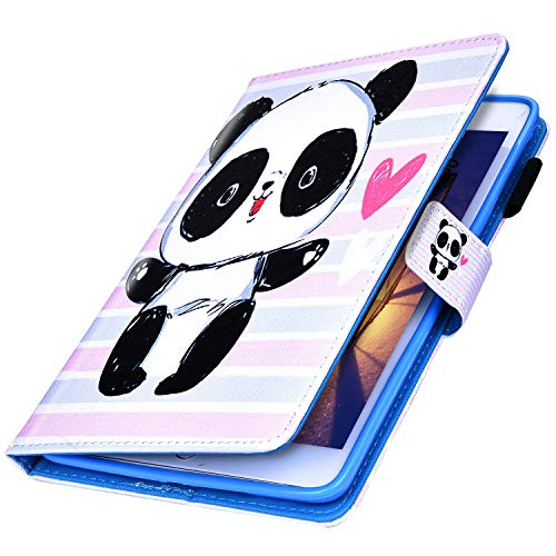 MoreChioce kompatibel mit iPad Mini 5 Hülle,kompatibel mit iPad Mini Smart Cover,Bunt Liebe Panda Ledertasche Stand Hülle Case Tablet Cover Brieftasche Protective Case Etui Bumper mit Standfunction