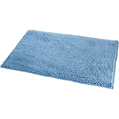 AmazonBasics Non-Slip Microfiber Shag Bath Rug, 21  x 34 , Lake Blue
