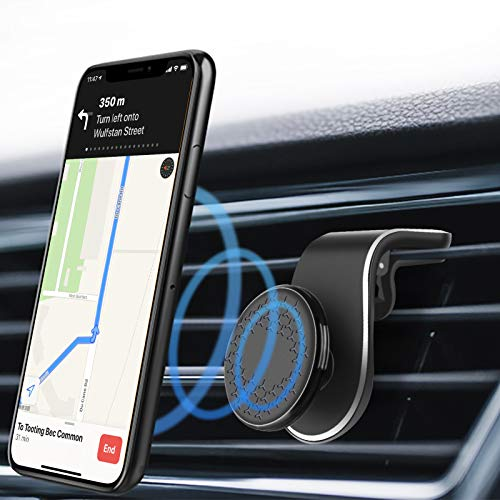 Eono by Amazon -Support Telephone Voiture, Support Téléphone Magnétique, Rotation Flexible à 360°, Support Clip d'aération de Type L, Ventilation Horizontale, pour Smartphones, Inapplicable à Magsafe