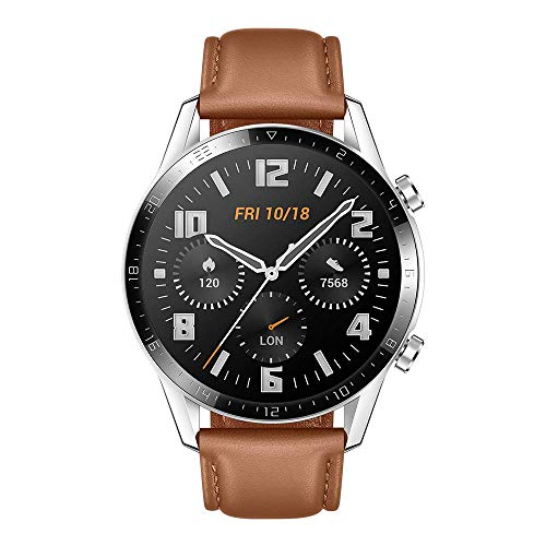 HUAWEI Watch GT 2 (46 mm) Smartwatch, 1,39-Zoll-AMOLED-Display mit 3D-Glasbildschirm, 2 Wochen Akkulaufzeit, GPS, 15 Sportmodi, 3D-Glasbildschirm, Bluetooth-Anruf Smartwatch, kieselbraun