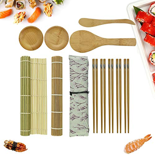 AFASOES Kit para Hacer Sushi en Casa de Bambú 12 Piezas, 2 x Esterillas, 1 x Paleta de Arroz, 1 x Esparcidor de Arroz, 5 Pares de Palillos , 2 x Plato Pequeño, 1x Bolsa para Palillos, Kit Sushi Regalo