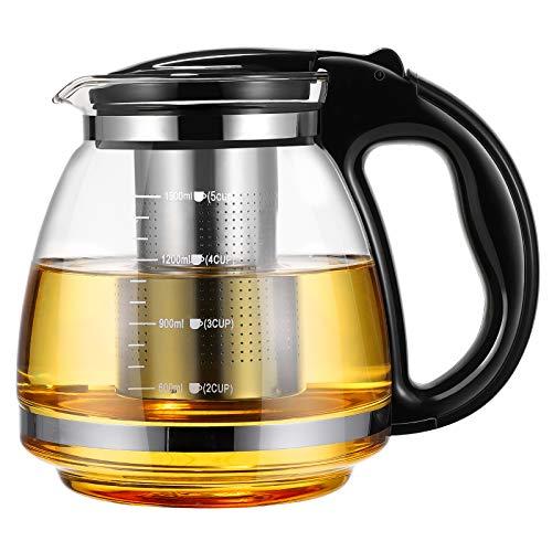 OUNONA Glas-Teekanne Edelstahl Filtergriff hitzebest?ndig 1500 ml (schwarz)