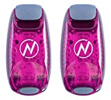 LED Safety Light (2 Pack) w/Bonus Items | Clip On Strobe/Running Lights for Runners, Dogs, Bike, Walking | The Best High Visibility Accessories for Your Reflective Gear, Bicycle etc (Pink)