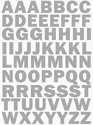 das-label Buchstaben Design NO.3 (Gross) | Silber Vinyl matt | Selbstklebende gestanzte Klein- oder Großbuchstaben | zum Basteln Scrapbook | Sticker | Aufkleber | zum Beschriften