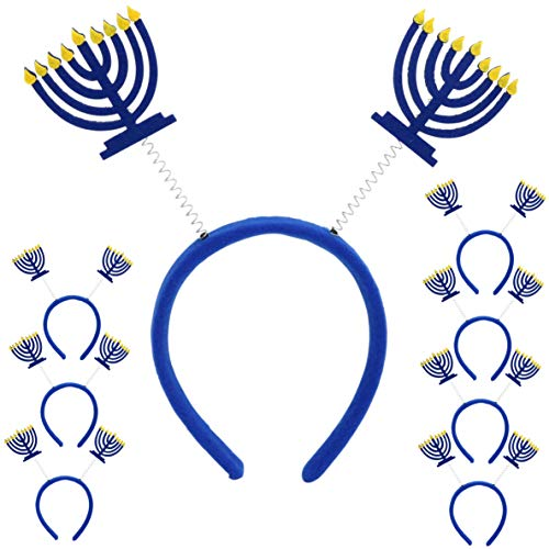 Iconikal Hanukkah Headband Boppers, Purim Menorah, 8-Pack