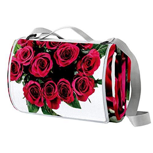 Anmarco Picknickdecke mit rosafarbenen Blumen, romantisches Design mit grünen Blättern, wasserdicht, faltbar, für Strand, Camping, Wandern
