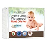 Organic Cotton Waterproof Fitted Crib Pad - Natural Baby Crib Mattress Cover & Protector - Unbleached, Non-Toxic & Hypoallergenic (28' x 52' x 7')