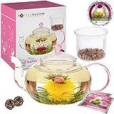Coffret cadeau rose de thé Teabloom Pretty in Pink – Théière en verre borosilicaté 1000 ml, 2 roses de thé...