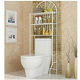 Estantería Inodoro, Estantería Baño WC, Estante de Toallas y Artículos de Tocador, carga máxima: 25kg Blanco