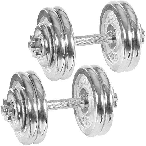 Movit® Chrom Gusseisen Kurzhantel 2er Set, Varianten 30kg, 40kg, 50kg, 60kg, gerändelt mit Sternverschlüssen Chrom-Hantel-Set