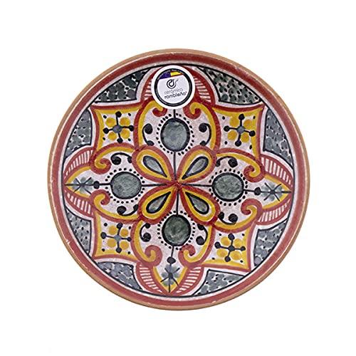 CERÁMICA RAMBLEÑA   Plato Decorativo para Colgar en Pared   Plato de cerámica   Rojo-Verde-Negro Modelo 08   100% Hecho a Mano   17x17x3.8 cm