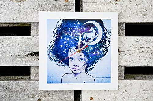 Wanduhr Graffiti Mädchen mit Einhorn und Mond Uhr Pop Art Graffiti Quadrat Foto auf Holz