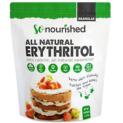Erythritol Sweetener Granular - 1:1 Sugar Substitute, Keto - 0 Calorie, 0 Net Carb, Non-GMO (5 lbs / 80 oz)