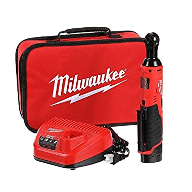 Milwaukee M12 12-Volt Lithium-Ion 3/8 in. Cordless Ratchet Kit, up to 35 Ft. Lbs of Torque and 250 RPM, REDLITHIUM Battery Powered, with Built-in LED Light for Maximum Performance and Productivity!