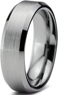 Tungsten Wedding Band Ring Custom Laser Engraving 6mm for Men Women Silver Grey Beveled Edge Brushed Comfort Fit