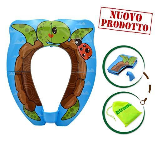 Riduttore water per bambini e neonati pieghevole - riduttore wc universale e portatile per uso in casa e fuori casa - 10 copri water e borsa da viaggio inclusi