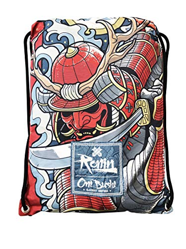Ronin Gi Sports Bag - Oni Bushi-Draw String Backpack – Contact Sports Rucksack for BJJ, Karate, Judo, TKD, Kempo Gis – Gear Carrying Bag for Women, Men and Kids – 100% Polyester – Sturdy Printed Pouch