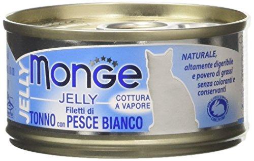 Monge, Jelly - Cibo Per Gatti, Filetti di Tonno con Pesce Bianco, 80 grammi, 1 Lattina