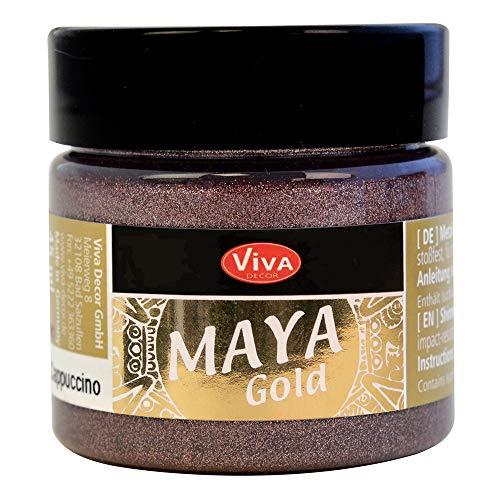 Viva Decor®️ Maya Gold (Cappuccino, 45 ml) Acrylfarbe mit Metallic Effekt - Malfarbe - Acryl Farben für Holz, Pappe, Beton, Papier, Leinwand UVM.