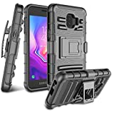 for Galaxy J2 Case, Galaxy J2 Core / J2 Dash / J2 Pure / J260 Case, Zectoo Heavy Duty Shockproof Full Body Rugged Holster Armor Hybrid Case Cover with Swivel Belt Clip & Kickstand - Black
