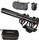 Comica CVM-VM20 ショットガンマイク ショックマウント付き 3.5mm 高音質 多機能 外付けマイク カメラマイク 多機能スーパーカーディオイドコンデンサーマイク 2つのローカットフィルターモード OLED可視化電源 内蔵バッテリー デジタル一眼レフカメラ/スマートフォン/ポッドキャスト/インタビュー/Vloggingなどに対応