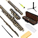 EASTROCK Closed Hole C 16 Key Flutes for Beginner, Children, Student - Antique Flute with Stand and Cleaning Kit