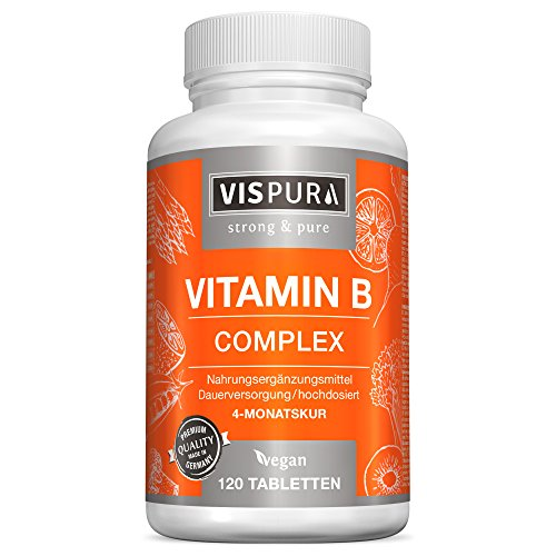 Vitamina B Complex, altamente concentrada, 120 comprimidos veganos, todas las vitaminas B sin estearato de magnesio, con calidad alemana premium