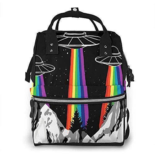 Unisexo Mochila,Ovni Orgullo Gay Pañal Mochila Bolsa De Enfermería Bolsas De Pañales Mochila Ligera De Lona De Momia para Adolescentes Camping Escolar