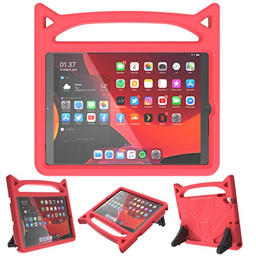 iPad 10.2 inch 2019-7th Generation/Air 3rd Gen/Pro 10.5 Case for Kids, SUPLIK Duable Shockproof Protective Handle Bumper Stand Cover with Screen Protector, Red