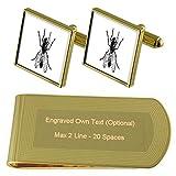 Select Gifts Los Insectos vuelan de Tono Oro Gemelos Money Clip Grabado Set de Regalo