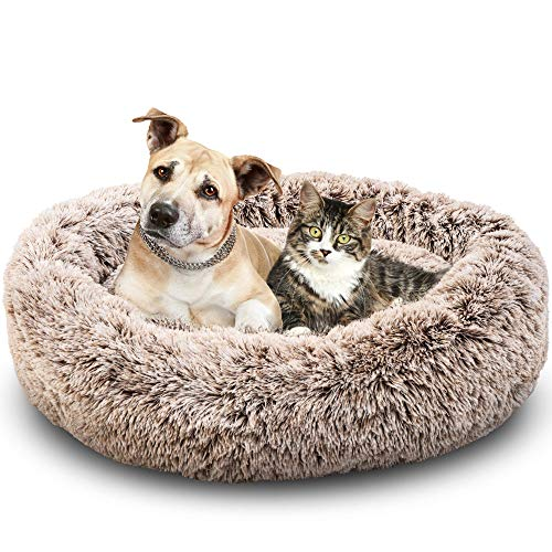 Pet Calming Bed for Dogs and Cats by ACT Fluffy Dog Beds for Medium Small Dogs, Pet Anxiety Bed - Modern Pet Bed, Comfy Cushion & Plush Fur - Cozy Oval Round Donut Dog Bed for Friends, Washable