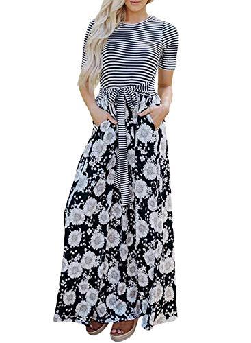 Dearlovers Women Floral Printed Striped Summer Short Sleeves Casual Long Maxi Dress Black Medium