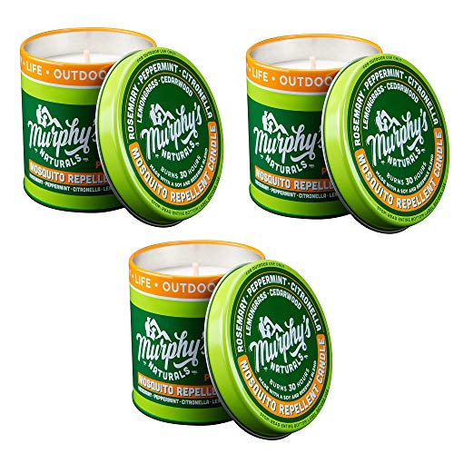 Murphy's Naturals Mosquito Repellent Candle | Outdoor Citronella Candle for Patio, Yard & Garden | Soy Wax Beeswax, Peppermint, Lemongrass, Rosemary, Cedarwood | Made in USA | 9oz | 3 Pack