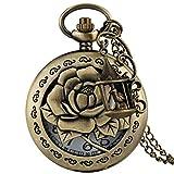 Reloj de Bolsillo de Bronce Elegante para Mujeres, Delicado patrón de Rosas con Jaula de pájaros, Accesorios de Bolsillo, Relojes para Amigos, Cadena Delgada y Duradera para Hombres