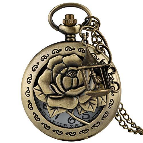 Montre de poche gracieuse en bronze pour femme, motif rose délicat avec cage à oiseaux, montre de poche pour amis, montre à chaîne fine durable pour homme