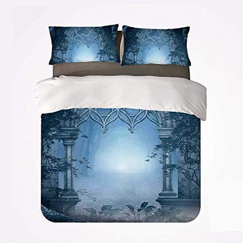 Puerta de paso de fantasía a través del paisaje nocturno del jardín del palacio mágico brumoso encantado ,Juego de ropa de cama con funda nórdica de microfibra y 2 funda de almohada - 140 x 200 cm